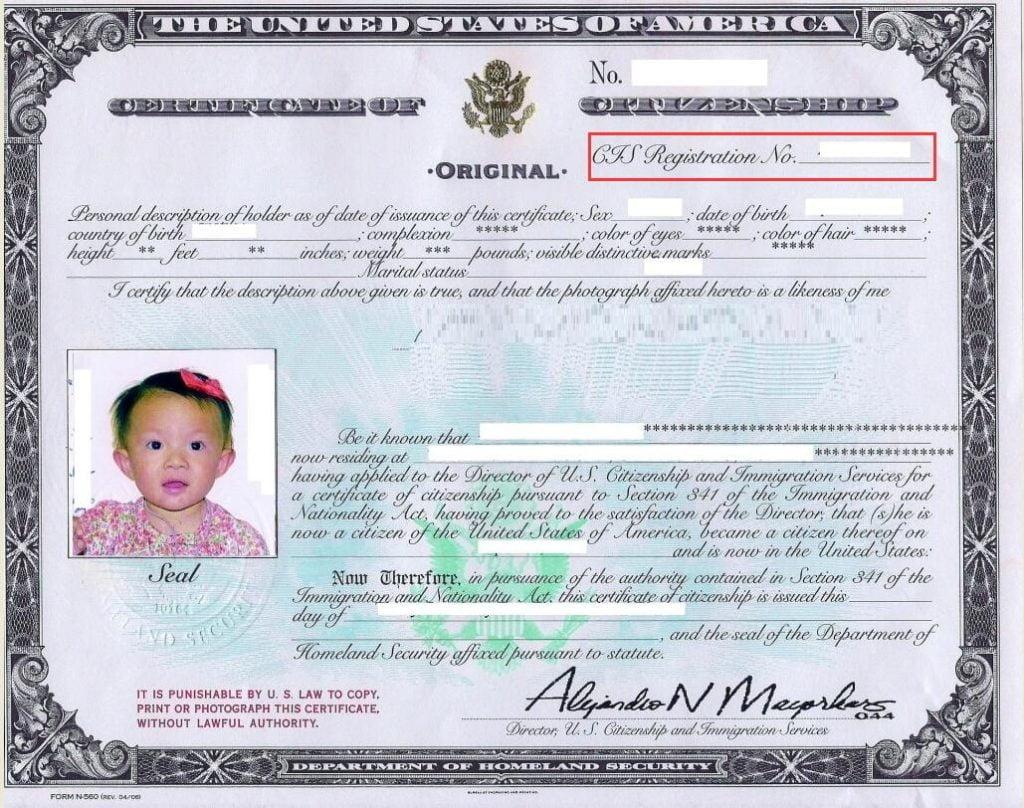 Alien Registation Number on Certificate of Citizenship