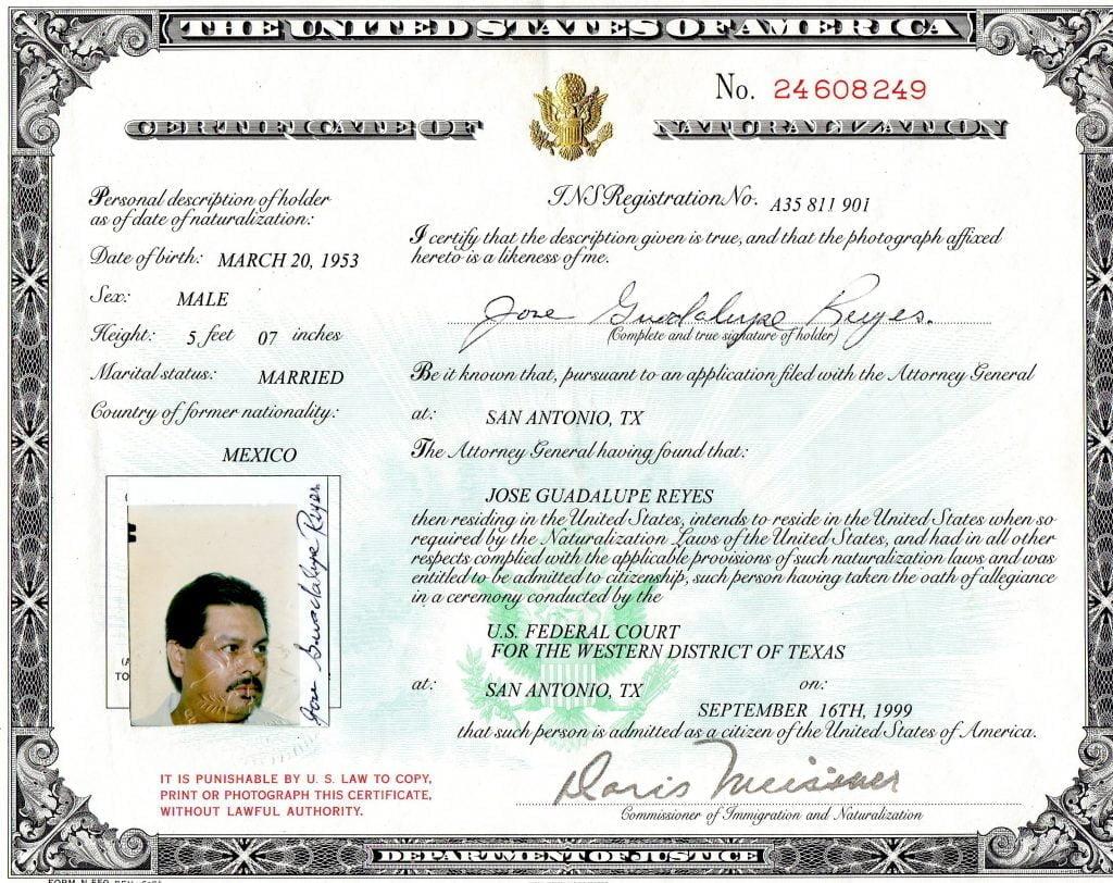 Certificate of Naturalization Sample
