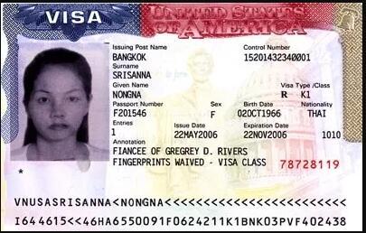 K-1 Visa Stamp