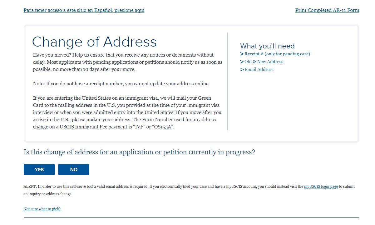 USCIS Change of Address Page