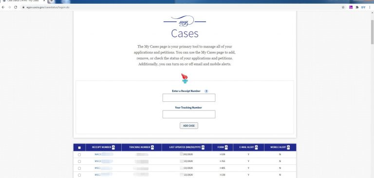 USCIS Check Case Status Account