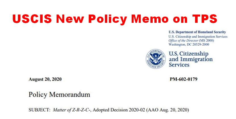 USCIS's New Policy Memo on TPS