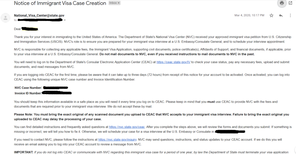 Notice of Immigrant Visa Case Creation-NVC