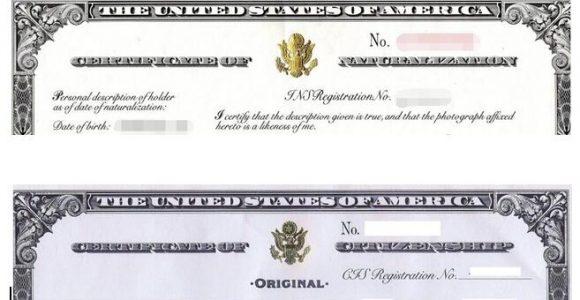 Naturalization Certificate or Citizenship Certificate